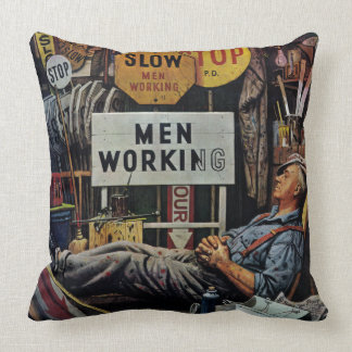 Men Working Throw Pillow