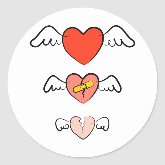 Mended heart classic round sticker