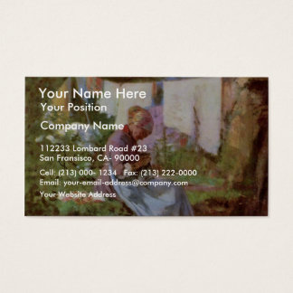 Mending Old Woman By Grigorescu Nicolae Business Card