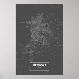 Mendoza, Argentina (white on black) Poster