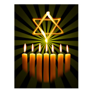 Menorah And Star Postcard