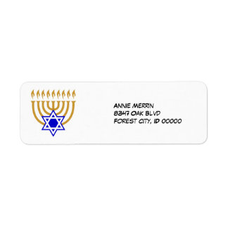 Menorah and the Star of David Label