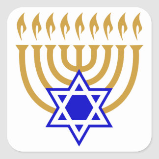 Menorah and the Star of David Square Sticker