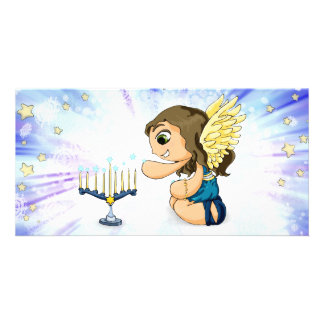 Menorah Angel Customized Photo Card