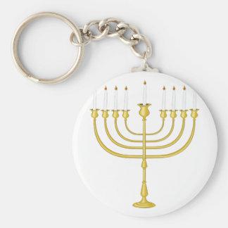 Menorah Basic Round Button Keychain
