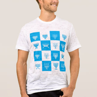 menorah blue pattern t-shirt