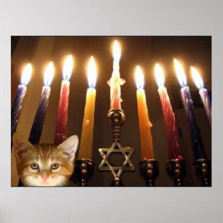 Menorah candlelight and kitten poster