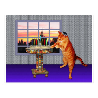 menorah cat.jpg postcard