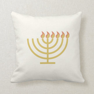 Menorah Flip - Dreidel Shin Throw Pillow