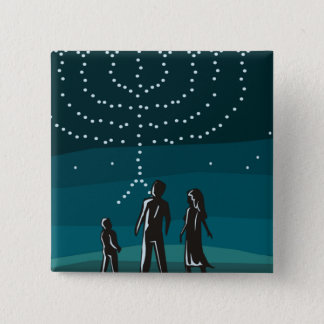 Menorah in the Stars 2 Inch Square Button