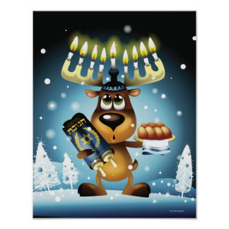 Menorah Reindeer Poster