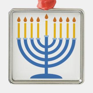Menorah Silver-Colored Square Ornament