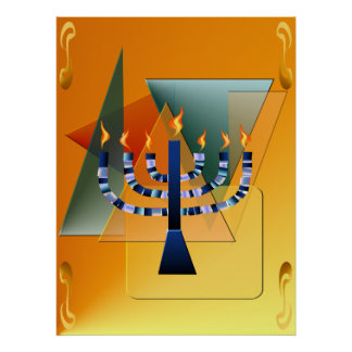 Menorah with shapes Poster