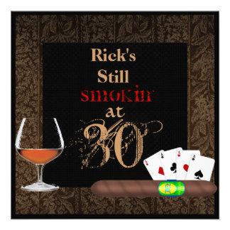 MENS 30th Birthday Cigars Poker BRANDY INVITATIONS