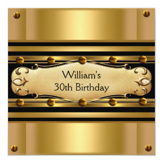 Mens 30th Birthday Party Gold Black Mans 2 Card