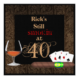 MENS 40th Birthday Cigars Poker BRANDY INVITATIONS