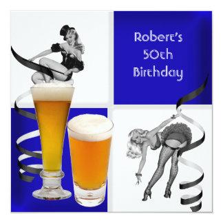 Mens 50th Birthday Blue Check Retro Girl Beer Card