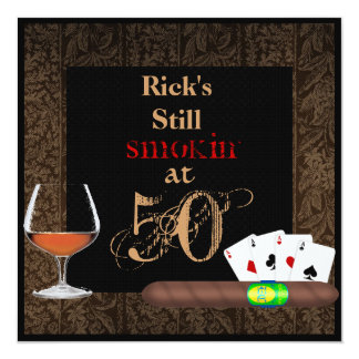 MENS 50th Birthday Cigars,Poker BRANDY INVITATIONS