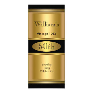 "Mens 50th Birthday Party Gold Black Vintage 4"" X 9.25"" Invitation Card"