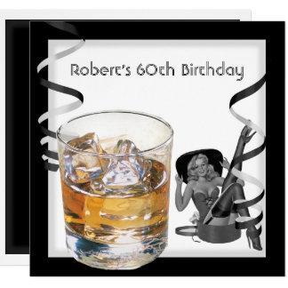 Mens 60th Birthday Party Retro Girl PINUP Scotch 2 Card