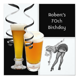 Mens 70th Birthday Check Retro Girl PINUP Beer Card
