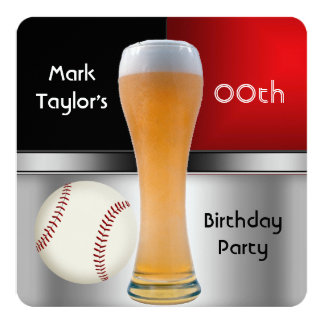 "Mens Add Age Birthday Party Red Beer Baseball Ball 5.25"" Square Invitation Card"
