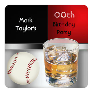 """Mens Add Age Birthday Party Red Drink Baseball 5.25"""" Square Invitation Card"""