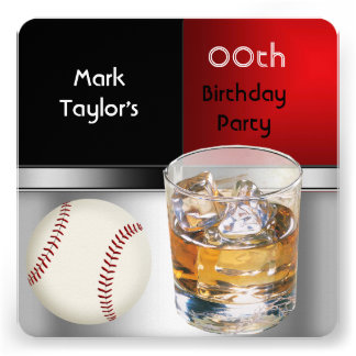 Mens Add Age Birthday Party Red Drink Baseball Personalized Announcement