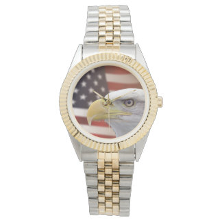 Men's American Eagle Flag Two-Tone Watch