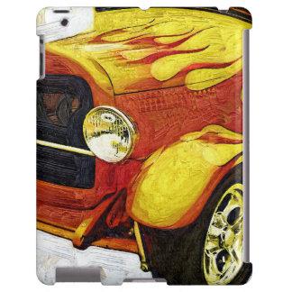 Men's Artistic Orange Flame Classic Car