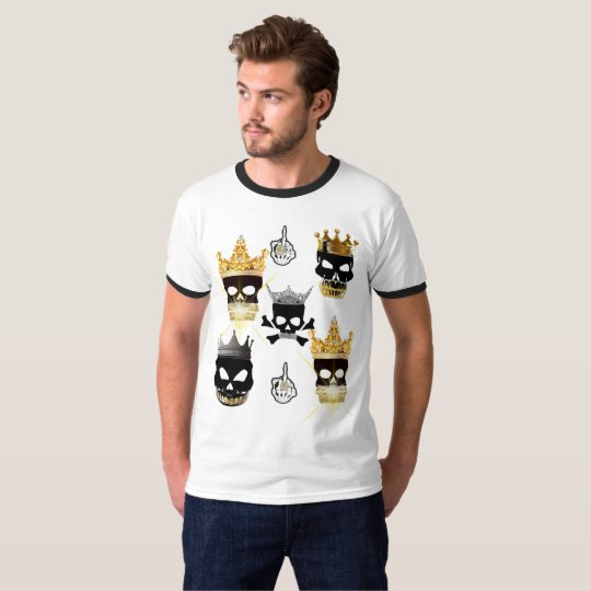 Men's Basic Black Skull&Gold Crown Ringer T-Shirt