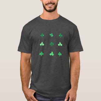 Men's basic dark T-shirt with clover leaves