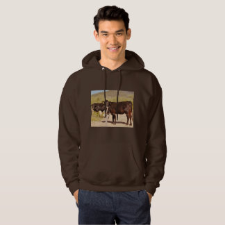 Men's Basic Hoodie/Sweatshirt Brown Cows in Chrome Hoodie