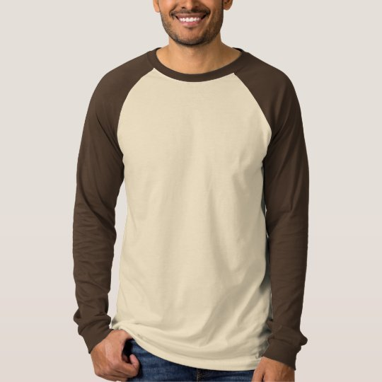 Mens Basic Long Sleeve Raglan Tan/Brown T-Shirt