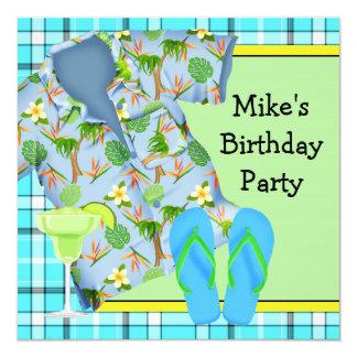 Mens BBQ Margarita Beach Birthday Party Invitation