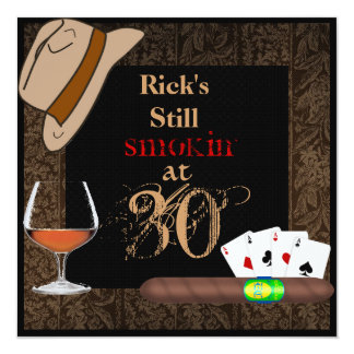 MENS Birthday Cigars,Poker FEDORA Hat INVITATIONS