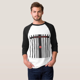 Mens black and white 3/4 sleeve t-shirt