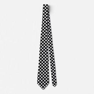 Men's Black and White Polka Dot Tie
