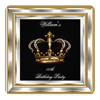 Men's Black Gold Silver Birthday Prince King 2 Card