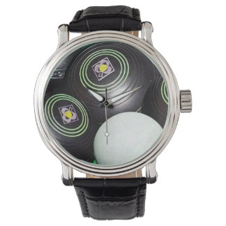 Mens Black Lawn Bowls, Big Face Leather Watch