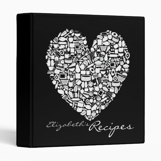 Mens Black & White Personalized Name Recipe Binder