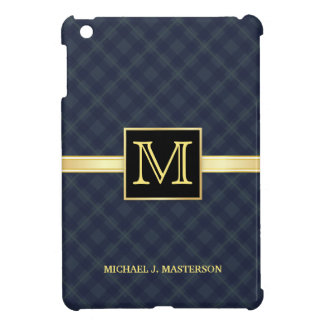 Men's Blue Plaid Monogram iPad Mini Cover For The iPad Mini