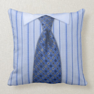 Mens Blue Shirt and Tie Novelty Throw Pillow