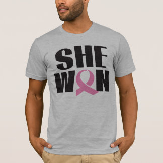 Men's Breast Cancer T-shirt SHE WON pink ribbon
