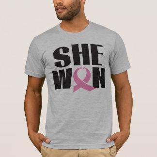 Men's Breast Cancer T-shirt SHE WON pink ribbon
