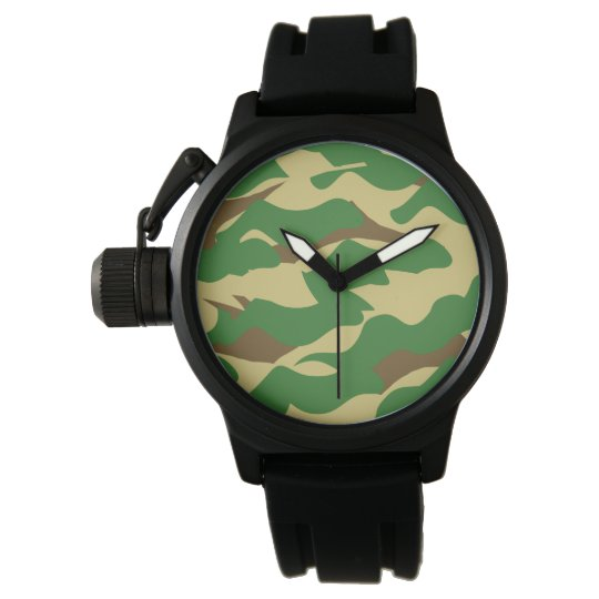 Men's Camouflage Crown Protector Wristwatch