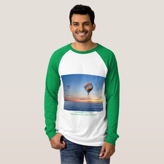 Men's Canvas Long Sleeve T-Shirt, White/Green T-Shirt