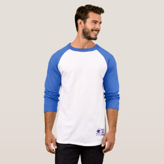 Men's Champion Raglan 3/4 Sleeve Shirt, Blue/White T-Shirt