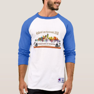 Men's Champion Raglan 3/4 Sleeve Shirt, White/Team T-Shirt