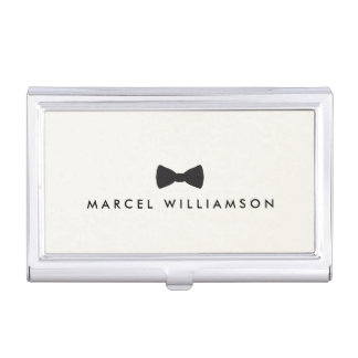 Men's Classic Bow Tie Logo Black/Ivory Business Card Holder